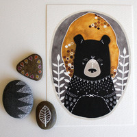 Bear Illustration  Animal Art Painting  Archival by RiverLuna