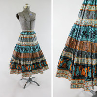 Vintage 1950s Novelty Print Skirt - Size XXS Small Full Circle 360 Degrees Fashion Clothing / Unique Persian Egyptian or Indian Design