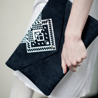 Envelope Bag Geometrical Illusion Leather Suede Dark with White No. EB-1011