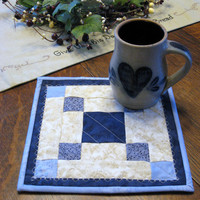 Quilted Mug Rugs, set of 2, in blue and ivory varigated fabrics