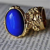 Knuckle Gold Finger Ring-Lapis
