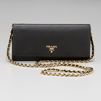 Prada Saffiano Chain Crossbody Wallet