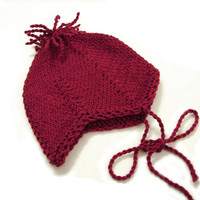 Burgundy baby hat, aviator hat with fringes choose size newborn to 1 year