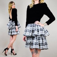TARTAN Plaid 80's Cocktail OPEN BACK velveteen holiday mini Dress Bow Strong Shoulder Ruffle xs