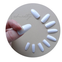 Snow White Long Oval Style Blanks w/ Nail Art PDF Tutorial DIY Kit 20 Count almond fake nails tips with glue
