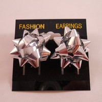 Silver Christmas Bow Earrings - 1in - pierced