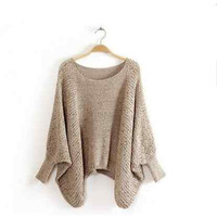 Ladies Batwing Knit Sweater Cotton Dress for Women Oversized Relaxed Fit