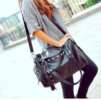 Fashion Rivets Black Handbag &Shoulder Bag
