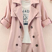 A 082612 Slim Solid Color Bow Button Coat