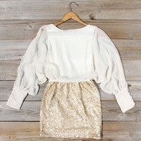 Sequined Autumn Dress in Cream