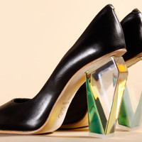 Shop Miista Shoes | Siri Clear Lucite Heel Pumps in Black | Thrifted & Modern