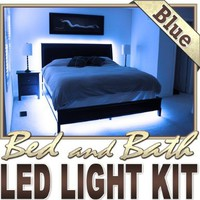3.3' ft Blue Bedroom Dresser Headboard LED Lighting Strip + Dimmer + Remote + Wall Plug 110V - Behind Headboard, Closet, Make Up Counter, Behind Mirror, Reading Light, Night Light LED Reading Light Strip Night Light Lamp Bulb Accent Lights SMD3528 Waterpro