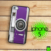 iPhone 5 Case Retro Purple Camera / Hard Case by TheCuriousCaseLLC