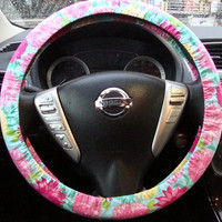 Steering Wheel Cover Vintage Style Floral Pink by julieshobbyhut