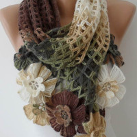Autumn Scarf - Multicolor Wool Crochet Scarf - Handknit - Winter Scarf