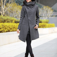 High Collar Wool Jacket Winter Wool Coat for Women in Dark Grey - Custom Made - NC498