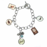 Nature Theme Charm Bracelet with Deer, Tree, Butterfly, and Bird Charm