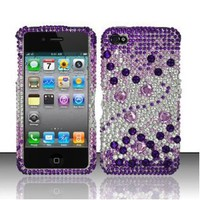 Apple iPhone 4 4G Purple Silver Full Diamond Bling Hard Case Cover Protector (free ESD Shield Bag)