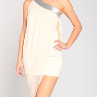 Tinsel Gretian Toga Dress in Ivory