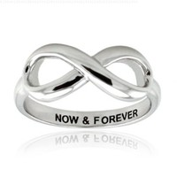 Sterling Silver Now & Forever Infinity Ring - Available Size: 4, 4.5, 5, 5.5, 6, 6.5, 7, 7.5, 8, 8.5, 9, 9.5, 10:Amazon:Jewelry