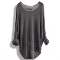 Long-sleeved knit shirt blouse hollow