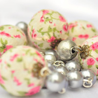 Peonies and pearls a gorgeous vintage look shabby chic necklace fabric beads and glass pearl