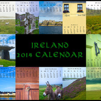 2014 Calendar, 2014 desk calendar, Christmas, Ireland, 2014, emerald isle, office party, Dublin, Galway, holiday gift idea, 5x7 calendar