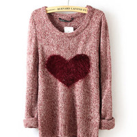 Wine Red Love Heart Long Sleeve Sweater