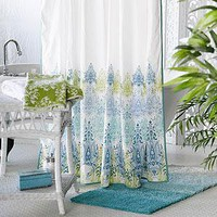 Blue/Green Print Shower Curtain - Shower Curtains and Rings - Cost Plus World Market