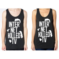 DFTBA Records :: Internet Killed TV Tank Top- Tri-Black