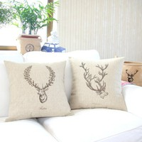 "MagicPieces Cotton and Flax Wild Deer Print Decorative Pillow Cover Case B 18"" x 18"" Square Shape-animal print-deer-freedom-antler-buck head"