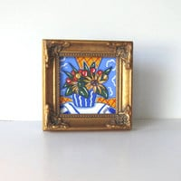 Sunflowers Still life Acrylic Painting,  Miniature Original on Canvas