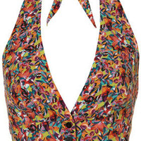 Tropical Floral Crop Halter Top - Topshop USA