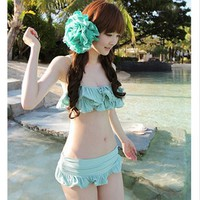 Women Girl's Chic Youth Lovely Kawaii Swimsuit Swimwear Swimdress 3 Color