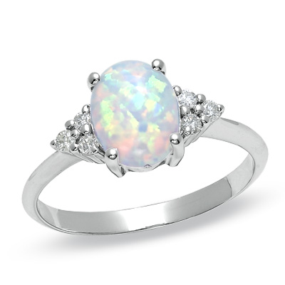 Diamond Wedding Ring With Amethyst And Opals