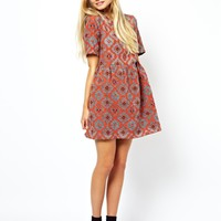 ASOS Smock Dress In Jacquard Aztec Print at asos.com