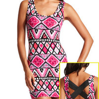 Charlotte Russe - Aztec Crisscross Back Dress