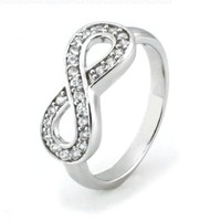 Sterling Silver Infinity Ring w/ Cubic Zirconia - Available Size: 4, 4.5, 5, 5.5, 6, 6.5, 7, 7.5, 8, 8.5, 9, 9.5, 10:Amazon:Jewelry