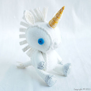 Evelyn the Unicorn Wool Felt Plush Art Doll by nonesuchgarden