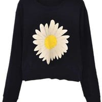 ROMWE | Daisy Print Black Pullover, The Latest Street Fashion