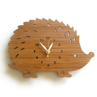 Hedgehog Bamboo Wall Clock by decoylab on Etsy