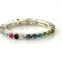 14K Gemstone Anniversary Band Eternity Band Stackable by RareEarth