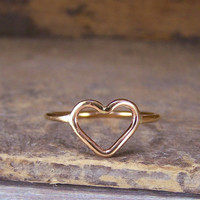 Heart Ring Open Golden Heart Ring by MoodiChic on Etsy