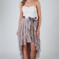 Two Tone Glitter Ruffle High Low Homecoming Dress with Side Waist Tie