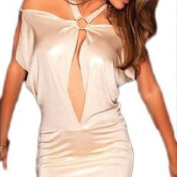 Shoulderless Shimmer Ring Dress- Halter Top - Deep V Accent -One Size