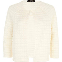 Cream square quilted cocoon jacket