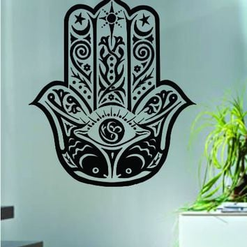 Hamsa Hand Version 3 Decal Sticker Wall Vinyl Art Blessings Power Strength
