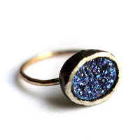 Royal Blue Drusy Oval Ring in Sterling Silver on 14k Gold-Filled Band