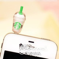 Cyprustech - Hot New Starbucks Coffee Style 3.5mm Headphone Anti-dust Plug Cap for Iphone 4 4S Samsung Galaxy HTC LG - White Color:Amazon:Cell Phones & Accessories