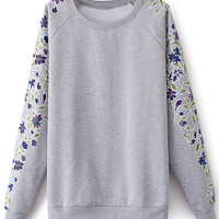 ROMWE | Floral Printed Sleeves Grey Pullover, The Latest Street Fashion